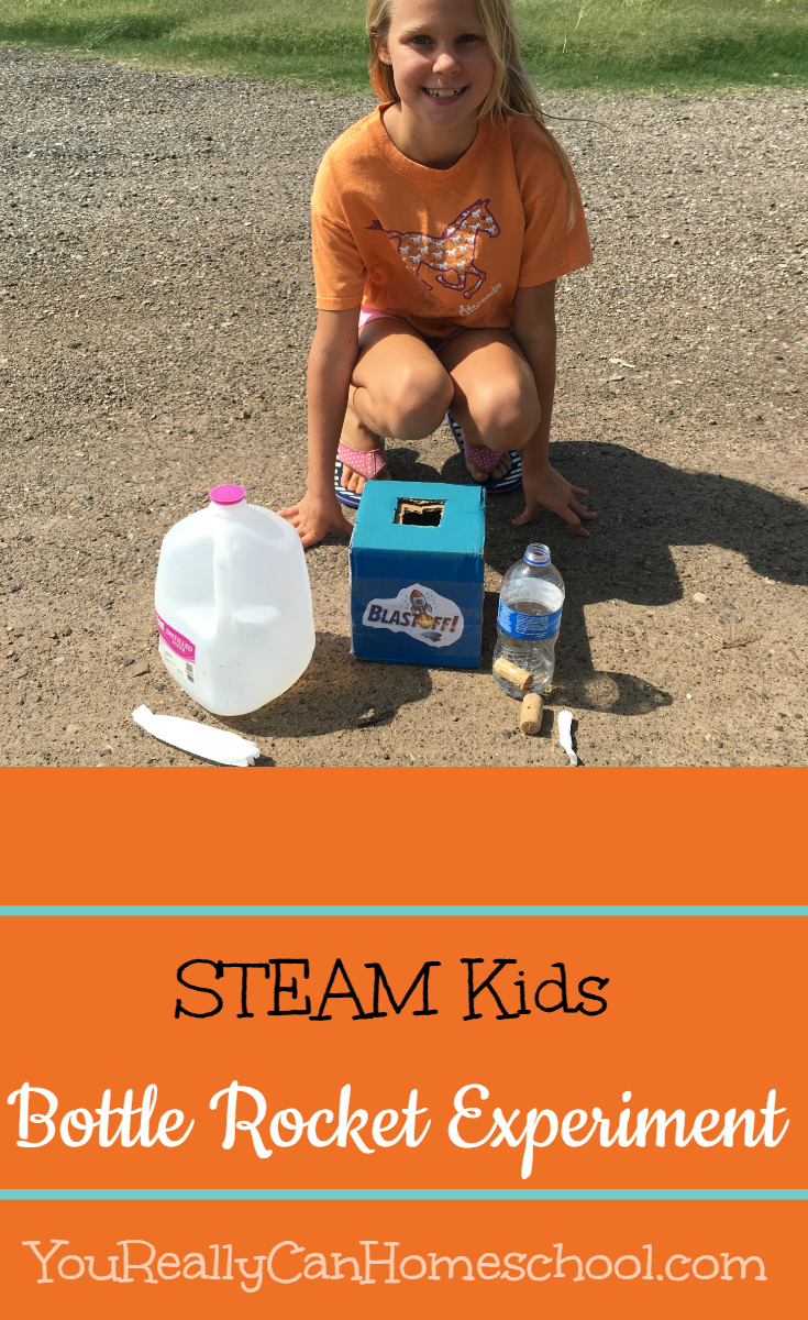 Bottle Rocket Experiment STEAM Kids ~ YouReallyCanHomeschool.com
