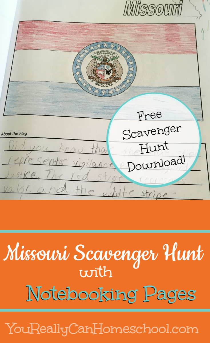 Missouri Scavenger hunt with notebooking pages. FREE scavenger hunt list to download. YouReallyCanHomeschool.com