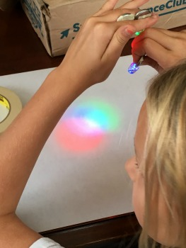 science subscription box, mixing color with light.
