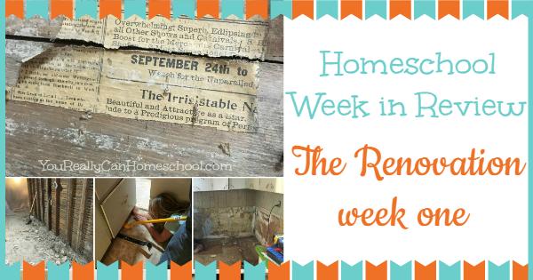 homeschool week in review: renovation week one