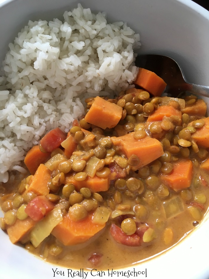 instant pot coconut curry and homeschool cooking resources
